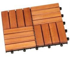 Brema 057133 Juego de baldosas, consta de baldosas de 30 × 30 cm, fabricadas en eucalipto FSC 100 %, 11 unidades