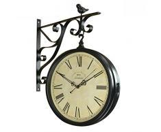 Reloj de pared de doble cara del hierro,Estilo europeo Retro Simple Reloj artesanal Muro creativo americano Reloj de la pared tranquila de la sala de estar del-C