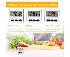 Mudder 2 Piezas Temporizador de Cocina Digital Magnético 24 Horas Temporizador con Alarma en Voz Alta con Soporte y Pantalla Grande (Blanco-Negro)
