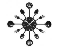 Premier Housewares - Reloj de pared, diseño de cubertería, diámetro de 43 cm, color negro