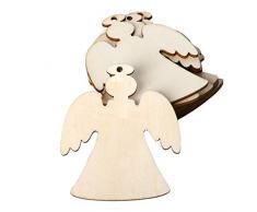 Koehope - Juego de 10 Adornos para árbol de Navidad, ángel, Madera, Colgante, con Cuerdas de Lino, Manualidades, artesanía, Fiesta, Cultura del hogar