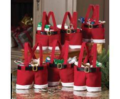Conjunto de 6 decoración de Navidad bolsa de regalo de Santa pantalones, bolso del caramelo