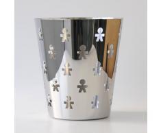 Alessi AKK57 Girotondo - Papelera metálica con diseño de muñecos de papel, color plateado