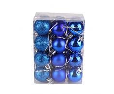 Bola de adorno,Longra 24 piezas Xmas bolas brillas elegantes de adorno de decoracion de arbol chucherias de Navidad (azul)