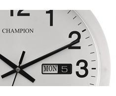 Champion - Reloj de pared de cuarzo, grande, para oficina, con fecha, 35 cm