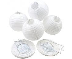 AGPtek Linternas Redondas de Papel Blanco para Navidad Boda Fiesta Cumpleaños Decoración del Partido (6 Pulgadas 10 Piezas)