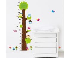 2015 new style Diseño de búho y mono para niños con texto en inglés de árboles fondo vinilo adhesivo para pared infantil de altura