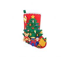 LIOOBO Medias de Navidad Calcetín De Navidad Manualidades Bolsa De Bricolaje Bolsa de Regalo para Niños árbol de Navidad DIY Paquete de Material