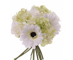 Ramo de gerbera, rosa, hortensia, crema-verde, 25 cm, Ø 18 cm - Ramo artificial / Flores sintéticas - artplants