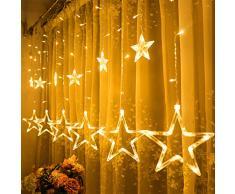 Cadena Luces LED,GlobaLink Cortina de 12 Estrellas LED Guirnalda Luces 2M 138ledes 8 Modos Luz IP44 Impermeable Cortina de Luces Decoración Navidad Fiesta Boda Cumpleaños Dormitorio Casa-Blanco Cálido