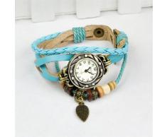 Gleader Reloj de Pulsera Cuarzo Banda de Cuero Estilo Antiguo para Chica Mujer - Azul Claro