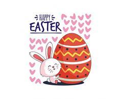 Topdo - Adhesivo Decorativo para Pared de Pascua, PVC, Impermeable, extraíble, para decoración de Pared, para habitación de niños, salón, Dormitorio, Cocina, 33 x 28 cm, Happy Easter