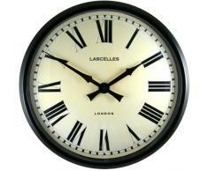 Roger Lascelles - Reloj de pared grande, estilo estación, color negro