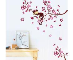 ufengke® Encantadores Monos y Melocotón Rojo Flores Pegatinas de Pared, Vivero Habitación de los Niños Removible Etiquetas de la pared / Murales