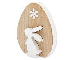 Matches21 - Figura Decorativa de Conejo de Pascua en Madera (12 x 12 x 2 cm), Color Blanco y marrón