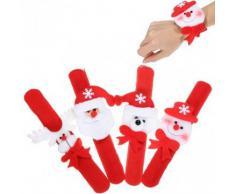 Tanzimarket - Regalos de Navidad del anillo de alta calidad de la decoración de Pat Círculo Mano Snowman Slap pulsera