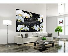 Foto tapiz Orquídea blanca mural con diamantes decoración mural flores de la orquídea modernas Phalaenopsis Flowers I foto-mural foto póster deco pared by GREAT ART (210 x 140 cm)