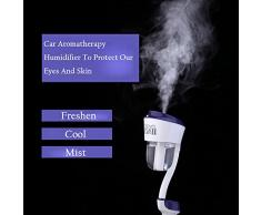 Coche Humidificador, meagadream® Rotación difusor Ambientador Purificador de aire Mist humidificador ultrasónico de aceites esenciales aromaterapia vehículos portátil 4 en 1 cargador de coche y de vapor humidificador y difusor