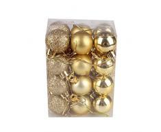 Bola de adorno,Longra 24 piezas Xmas bolas brillas elegantes de adorno de decoracion de arbol chucherias de Navidad (Oro)