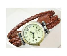 SODIAL(R) Reloj de Pulsera Cuarzo Estilo Antiguo para Chica Mujer - Cafe