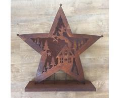 Farol portavelas Candelabro Metal oxidado (Corona de Adviento Estrella