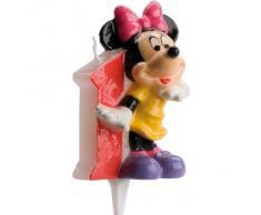 dekora 346141 Vela de Cumpleaños Mickey Mouse Numero 1, Cera, Multicolor, 6.5