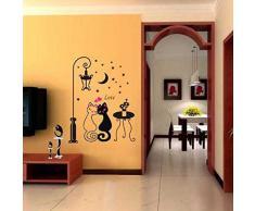 Pegatina de pared vinilo adhesivo decorativo para cuartos, dormitorio,cuartos de juegos ... diseño pareja de gatos enamorados OPEN BUY