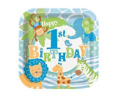 Azul Safari Platos de fiesta, 1er cumpleaño, diseño rectangular, 17.4cm, pack de 10