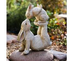 Aida Bz Jardín Estatua de Conejo Padre-Hijo, Decoraciones de jardín de Resina, Decoraciones de Escritorio Escultura, Regalos de Pascua, 13,7 * 11,4 * 4.5inch