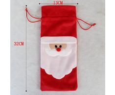 Para barandas de 2 piezas de Papá Noel rojo para botella de vino diseño de fundas para decoración para mesa de Navidad fiesta de dientes de Home