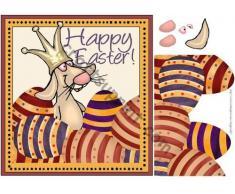 Conejo de Pascua con huevos y corona por Tanya Hall