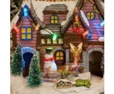 Navidad Musical Led Pueblo Escena Led Luces Precioso Muñeco De Nieve, Papá Noel & Reno Adornos Movibles Tren Que Círculos