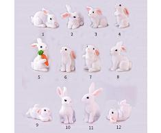 FCS Estatua de Resina 1 Unids 12 Estilo Lindo Conejo Pascua Decoración Miniatura Liebre Animal Estatuilla Resina Artesanía Mini Conejito Jardín