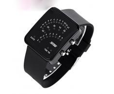 ufengke® exquisita binario impermeable llevó reloj de pulsera electrónico,rectángulo de línea de silicona reloj de pulsera muñeca banda,negro