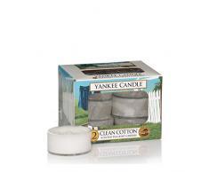 Yankee Candle Algodón Limpio Velas de Té Aromáticas Paquete de 12 Unidades, Blanco, 8.6x8.5x6.3 cm