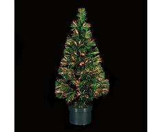 DECORACIÓN DE NAVIDAD: Árbol de Navidad artificial luminoso de fibra óptica con macetero incluido - Las luces cambian de color - 150 cm de alto