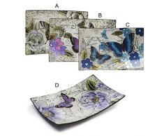 Platos Decorativos Rectangulares de Cristal (41.5x25 cm) Mariposas 4 modelos - A