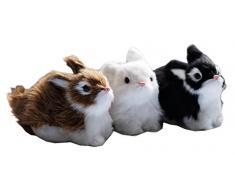 Conejo Juego de 3 de peluche, Pascua, conejo Figura de piel sintética, conejo animales figura decorativa de Pascua conejo Piel