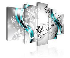 Cuadro en Lienzo 200x100 cm - 3 tres colores a elegir - 5 Partes - Formato Grande - Impresion en calidad fotografica - Cuadro en lienzo tejido-no tejido - flores abstraccion 020110-150 200x100 cm B&D XXL