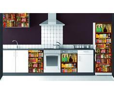 Plage Estantería Ultramarinos Vintage Vinilo Adhesivo para la Cocina, Vinilo, Multicolor, 60x3x180 cm