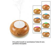 Difusor de aroma, Supremery vetas de la madera 300ml humidificador de aire ambientador - aromaterapia con luz LED que cambia de color