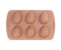 3D Moldes para Chocolate Silicona 6 Unidades Huevos de Pascua 26.5x16.5x2.5cm Cada uno Dimensiones 6.5x5cm