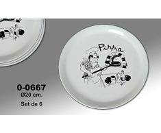 """Supernova Decoracion-Set 4 platos para pizza decorados con dibujos y palabra """"PIZZA"""" . Medidas 20 cm"""