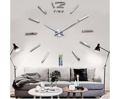 Malloom® reloj de pared adhesivo,Lujo DIY 3D Decoración del hogar etiquetas engomadas frescas espejo (plata)