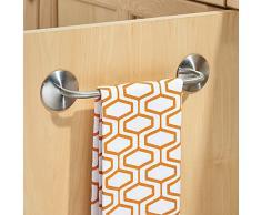 InterDesign 82720EU Affixx la cáscara y el palillo de adhesivo toallero de barra para la cocina, el baño, la cocina de lavado, armario de 28 cm, acero inoxidable cepillado