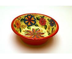 LEBRILLO Nº1 bol / plato hondo en ceramica hecho y pintado a mano con decoración flor. 31 cm x 31 cm x 11 cm (ROJO)