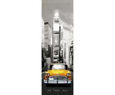 Empire 164148 New York - Póster para Puerta de Taxi Amarillo en Nueva York (53 x 158 cm), Color Blanco y Negro y Amarillo