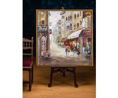 Cuadro al óleo original con marco - Cafetería en la ciudad - 104 x 104 cm