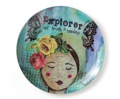Enesco Kelly Rae Roberts Explorer - Plato decorativo (cristal), diseño de alas de mariposas y cabeza de mujer con texto Explorer of truth & beauty