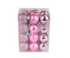 Bola de adorno,Longra 24 piezas Xmas bolas brillas elegantes de adorno de decoracion de arbol chucherias de Navidad (Rosa)